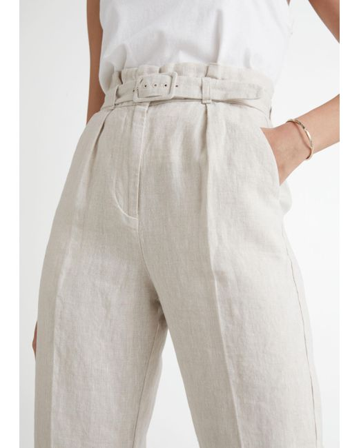 & Other Stories Natural Belted High Waist Linen Trousers