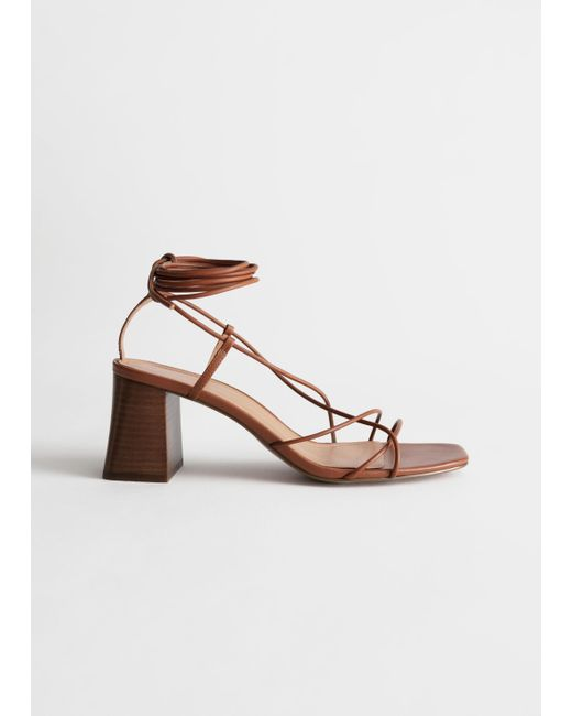 & Other Stories Orange Leather Strappy Lace Up Heeled Sandals