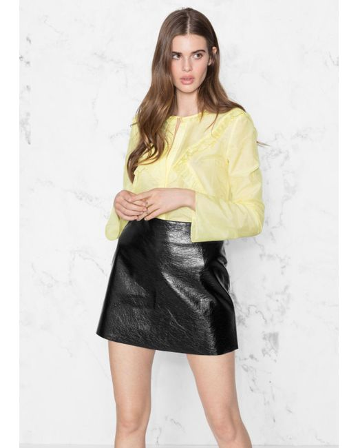 & Other Stories - Yellow Flare Sleeve Frills Shirt - Lyst