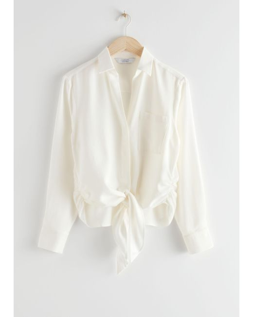 & Other Stories White Relaxed Front Tie Top