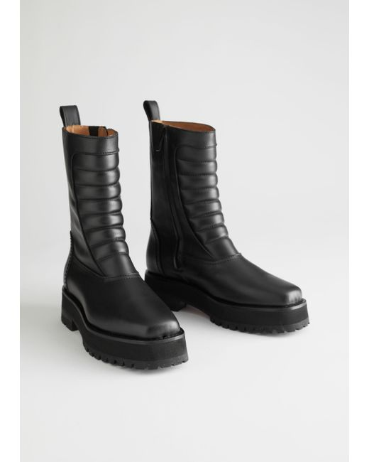 & Other Stories Black Square Toe Leather Biker Boots