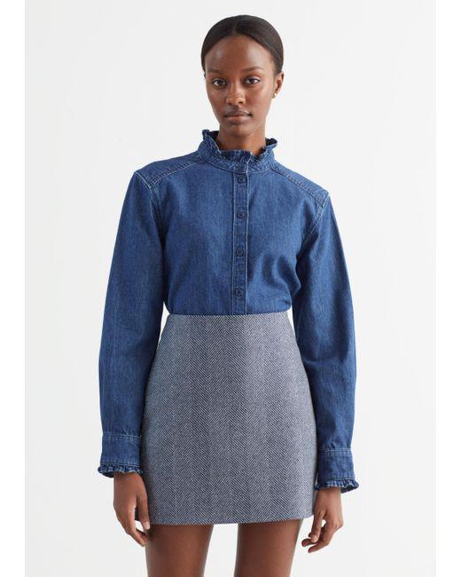 & Other Stories Blue Ruffled Denim Shirt
