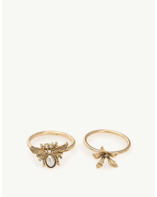 Stradivarius | Yellow Set Of 9 Floral Rings With Bug Charms | Lyst