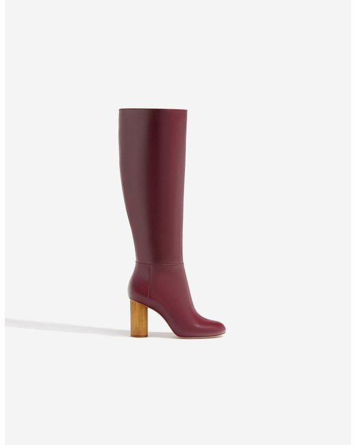 Stradivarius | Red Boots With Wooden Heels | Lyst