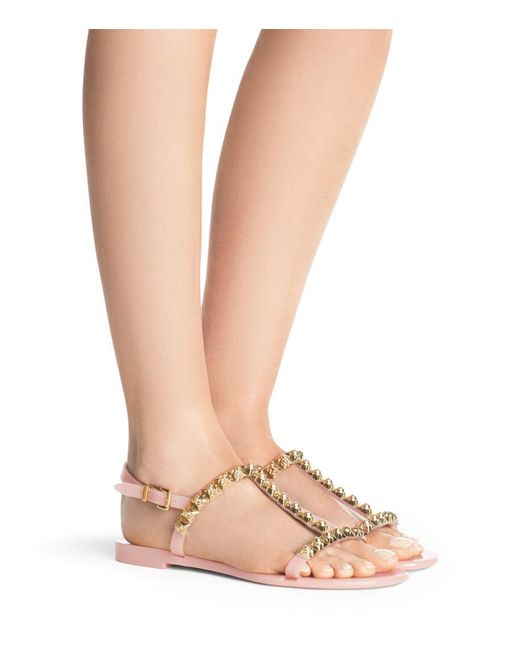 Stuart Weitzman Women's Jelrose Studded T-Strap Jelly Sandals Woyf4