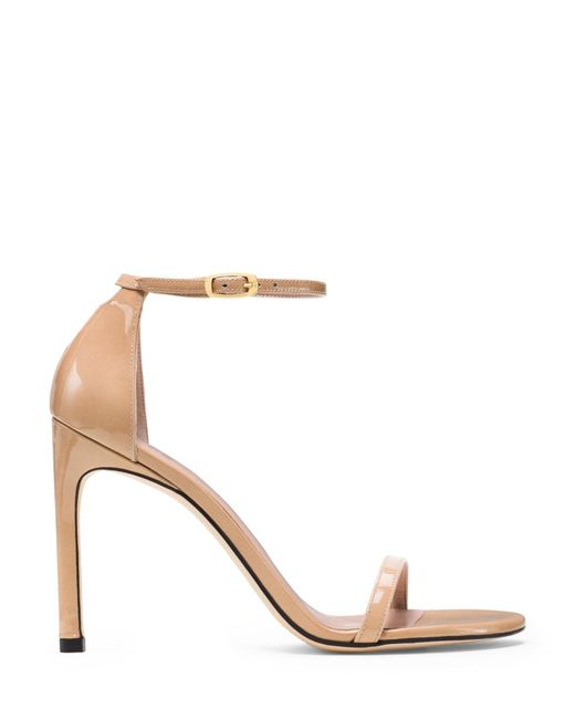Stuart Weitzman - Natural 'nudist Song' Ankle Strap Patent Leather Sandals - Lyst