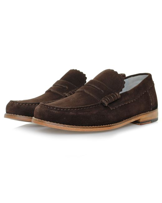 GRENSON - Brown Ashley Chocolate Suede Loafer Shoe for Men - Lyst
