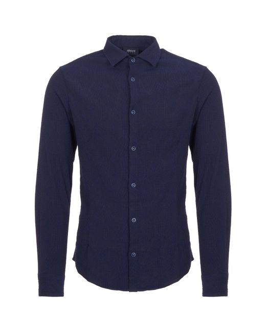 Armani Jeans | Fantasia Blue Camicia Cross Hatch Pattern Shirt for Men | Lyst