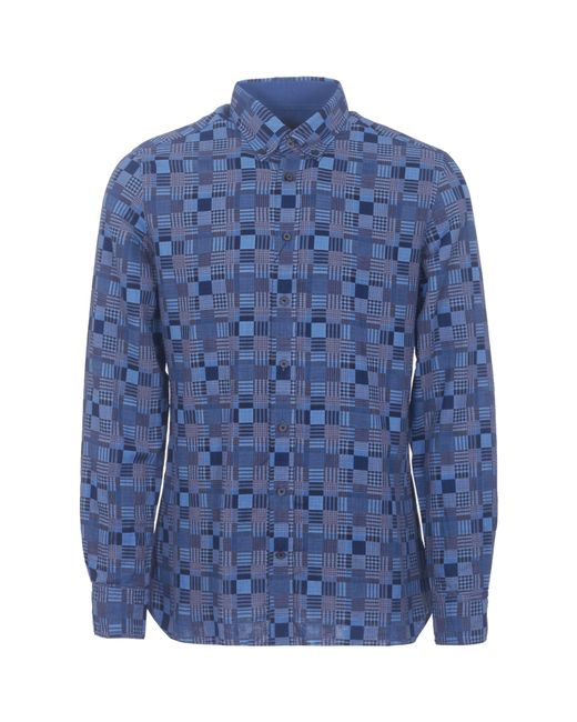 Hackett | Blue Patchwork Weave Shirt for Men | Lyst
