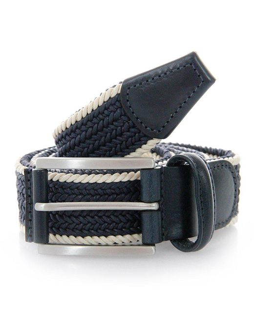 Andersons   Blue Anderson Belts Twin Braided Cream Navy Belt for Men   Lyst