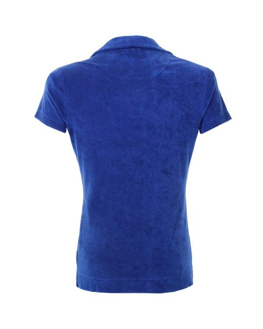 Orlebar brown terry towelling cobalt polo shirt in blue for Cobalt blue polo shirt