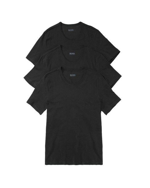 BOSS - Hugo Boss 3 Pack Black Cotton T-shirt for Men - Lyst