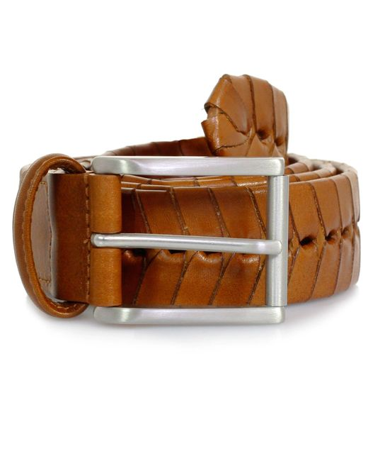 Andersons Brown Andersons Stitched Tan Leather Belt Pi175 for men