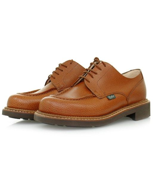 Paraboot Blue Chambord Tan Leather Shoes for men