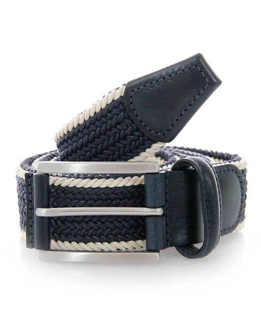 Andersons - Blue Anderson Belts Twin Braided Cream Navy Belt for Men - Lyst