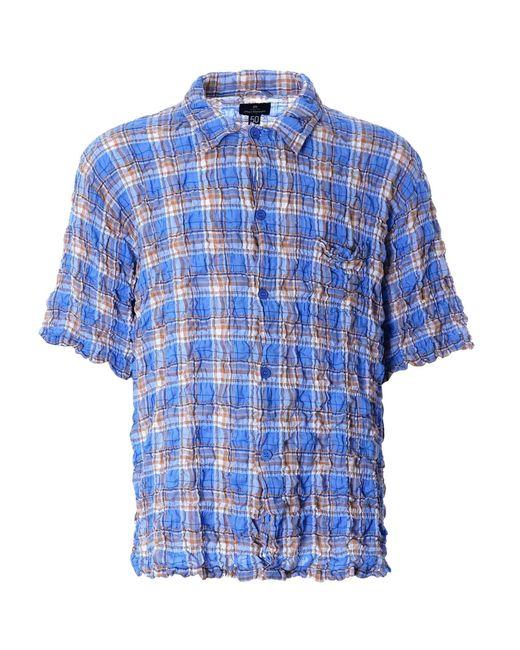Nigel Cabourn Frankies Shirt Creased Blue Ncs-53 for men