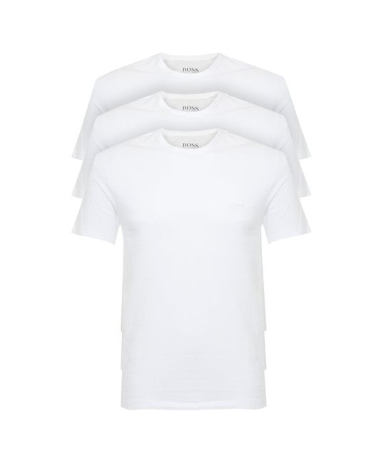 BOSS   Hugo Boss 3 Pack Crew Neck White Cotton T-shirt for Men   Lyst