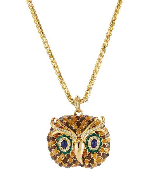 Kenneth Jay Lane - Metallic Embellished Owl Necklace - Lyst