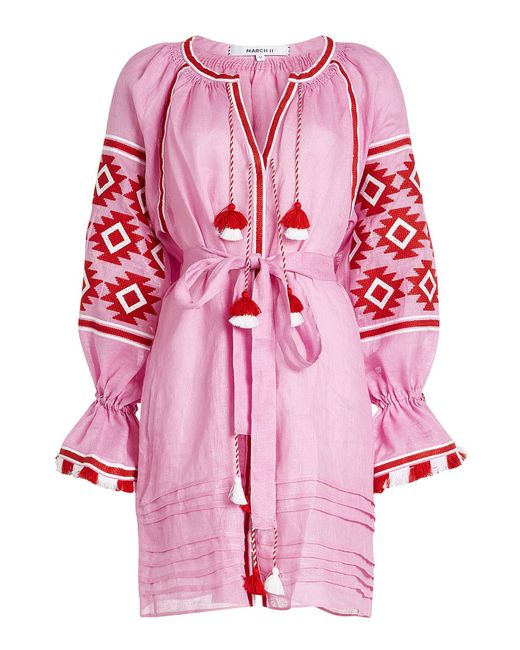 MARCH11 - Pink Geometry Linen Mini Dress - Lyst