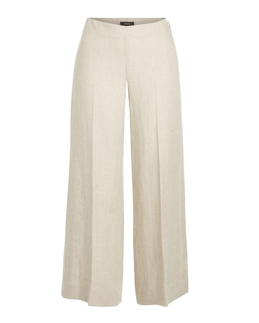 Theory Natural Terena Cropped Linen Pants