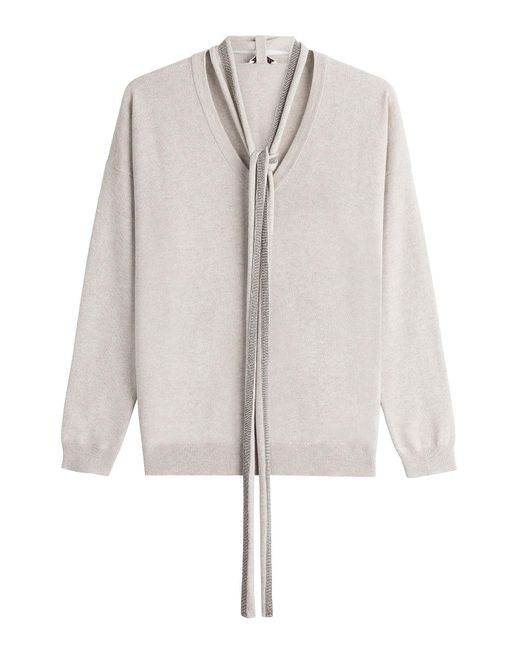Brunello Cucinelli - Gray Cashmere Pullover With Embellished Scarf - Lyst