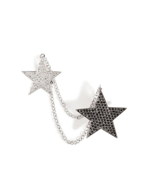Nikos Koulis | 18kt White Gold And Diamond Double Star Cuff Earring | Lyst