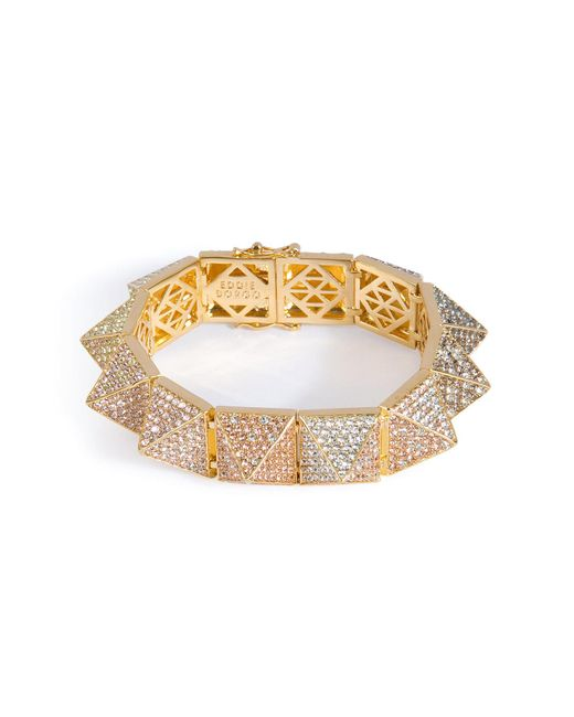 Eddie Borgo | Metallic Gold-plated Pyramid Bracelet With Crystal Embellishment | Lyst