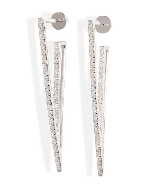 Lynn Ban | Metallic Sterling Silver V Earrings With Diamonds | Lyst