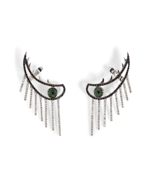 Ileana Makri | Metallic 18k Gold Weeping Eye Earring With Diamonds And Tsavorites | Lyst