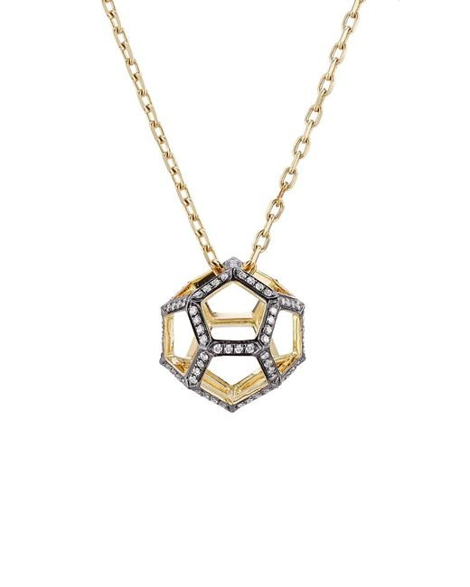 Noor Fares | Metallic 18k Gold Dodecohedron Pendant Necklace With White Diamonds | Lyst
