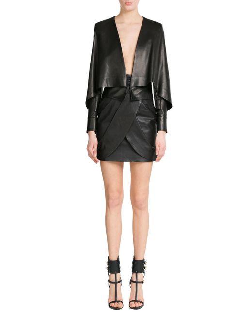 Balmain | Black Draped Leather Skirt | Lyst