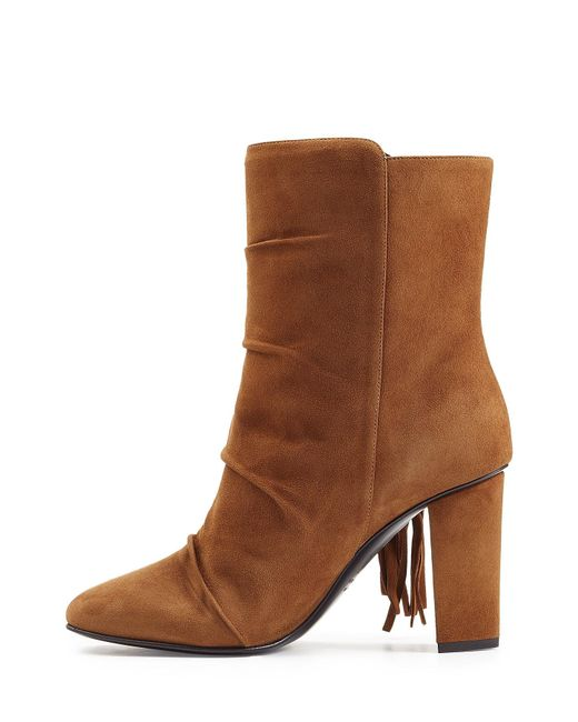 giuseppe zanotti fringed suede ankle boots in brown lyst