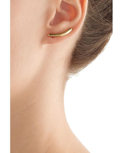 Jennifer Fisher | Metallic Curved Cylinder 14kt Yellow Gold Plated Earrings | Lyst