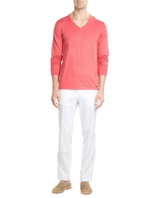 HUGO | Pink Cotton-silk Cashmere Pullover for Men | Lyst