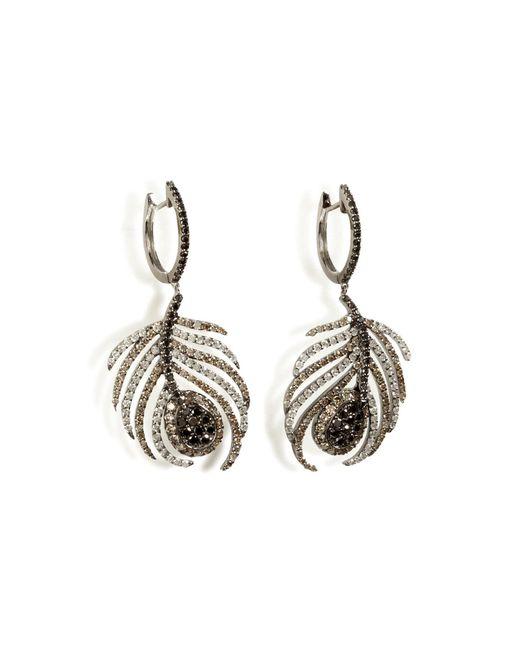 Nikos Koulis | Black Rhodium/diamond Paradise Peacock Earrings | Lyst