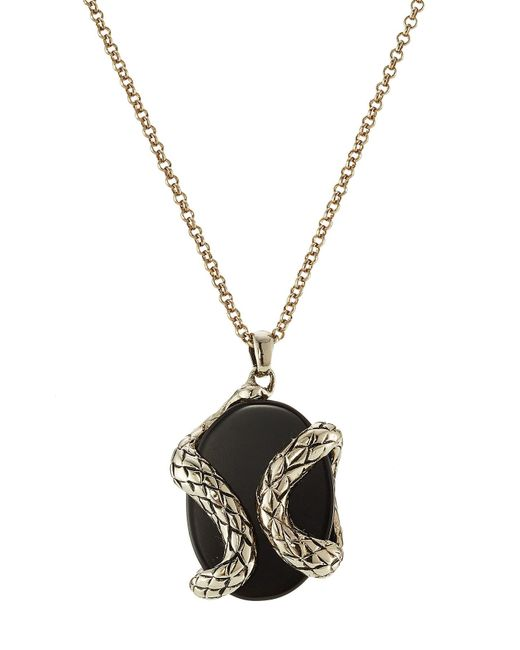 Roberto Cavalli | Black Necklace With Semi-precious Stone | Lyst