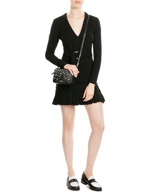 Karl Lagerfeld | Black Embellished Leather Shoulder Bag | Lyst