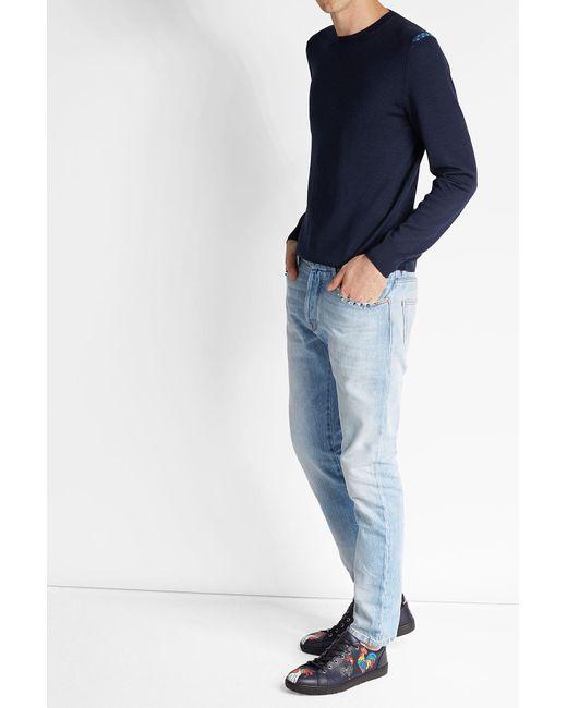 Alexander McQueen   Blue Wool Pullover With Shoulder Detail for Men   Lyst