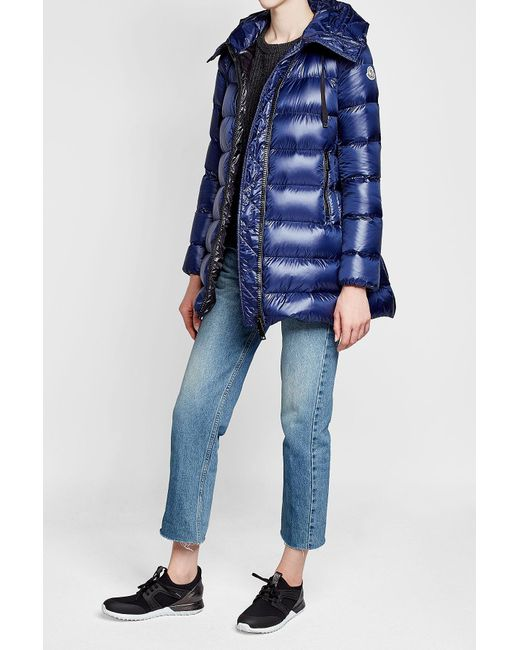 Moncler | Blue Quilted Down Coat | Lyst