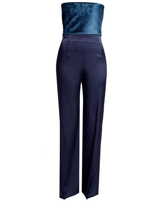 Galvan - Blue Jumpsuit With Velvet - Lyst