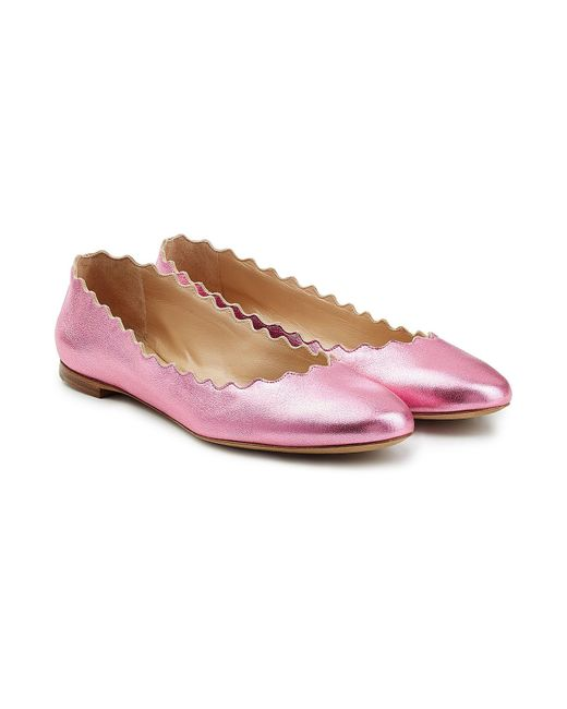 Chloé | Pink Scalloped Leather Ballerinas | Lyst
