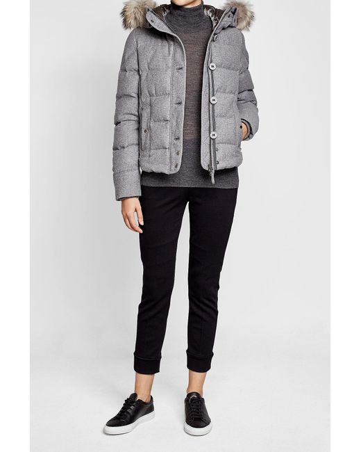 ... Parajumpers - Gray Virgin Wool Down Jacket With Fur-trimmed Hood - Lyst ...