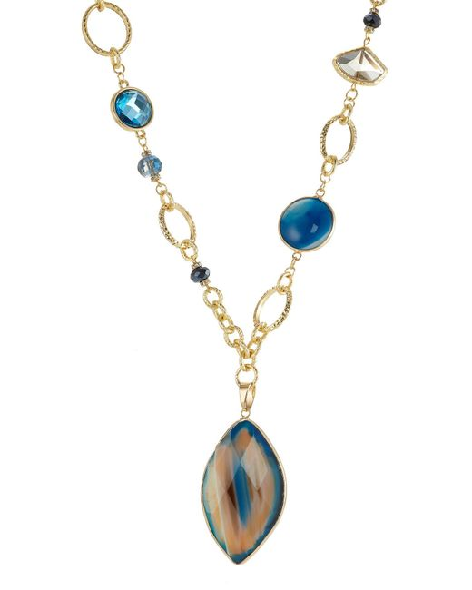 Kenneth Jay Lane | Metallic Gilded Necklace With Faceted Stones | Lyst