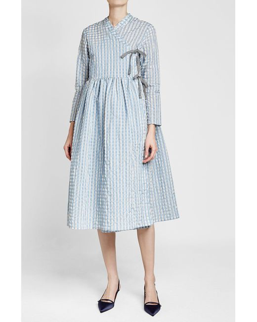 Shrimps | Blue Hermione Printed Dress With Cotton | Lyst