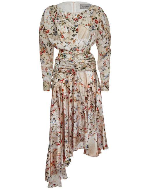 Preen By Thornton Bregazzi Multicolor Kay Printed Silk Dress With Asymmetric Hem
