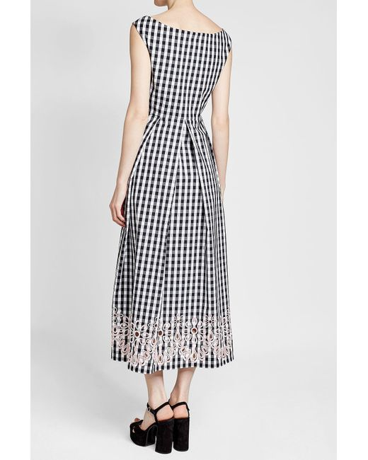 ... Boutique Moschino - Black Embroidered Gingham Dress - Lyst