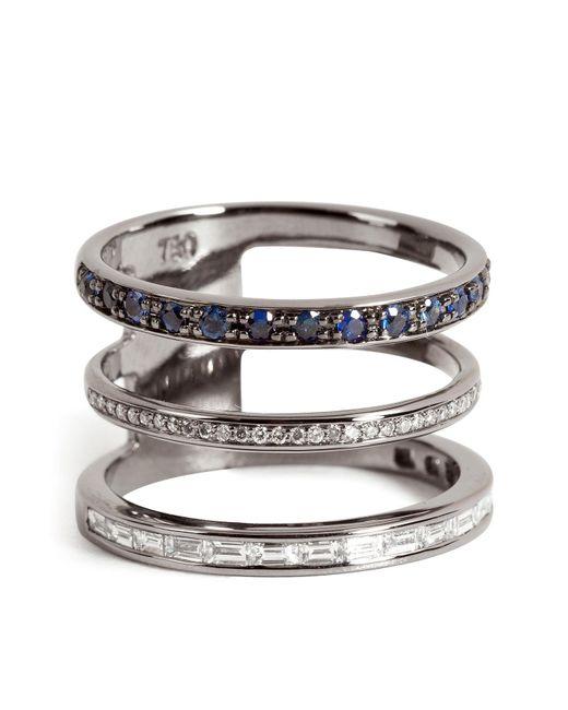 Nikos Koulis | Metallic 18kt Blackened Gold Ring With Sapphires And White Diamonds | Lyst