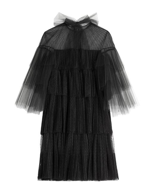 Valentino - Black Tiered Tulle Dress With Point D'esprit - Lyst