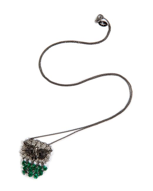 Nikos Koulis - White Black Rhodium Owl Pendant Necklace - Lyst