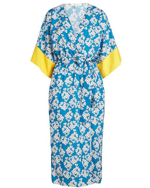 Borgo De Nor - Blue Wrap Kimono Printed Dress - Lyst